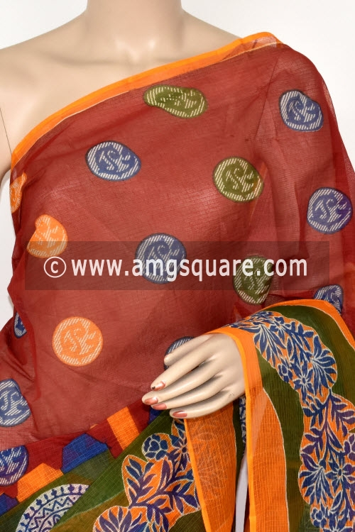 Red Premium JP Kota Doria Printed Cotton Saree (without Blouse) 15398