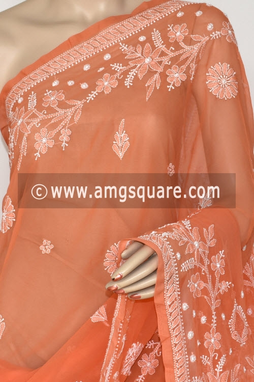 Orange Hand Embroidered Lucknowi Chikankari Saree (With Blouse - Georgette) Rich Pallu 14649