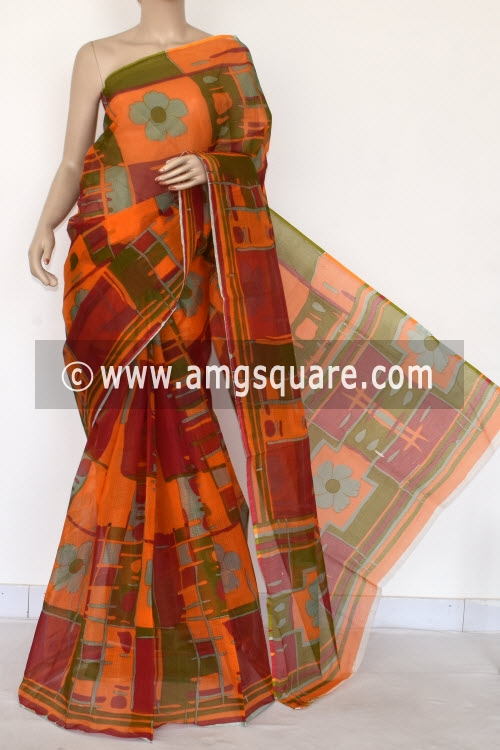 Red Orange Premium JP Kota Doria Printed Cotton Saree (without Blouse) 15405