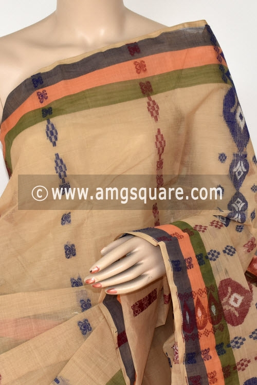 Fawn Handwoven Bengali Tant Cotton Saree (Without Blouse) 14175