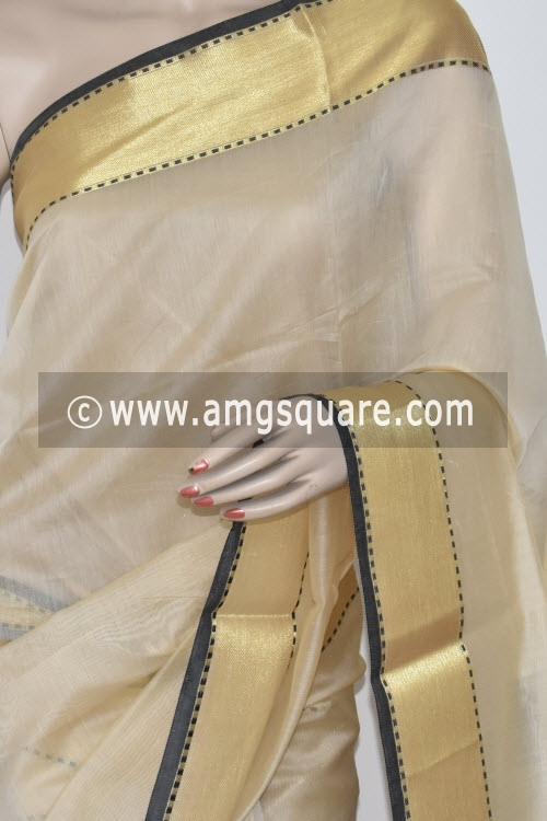 Exclusive Fawn Banarasi Kora Cot-Silk Handloom Saree (With Blouse) Zari Border 16140