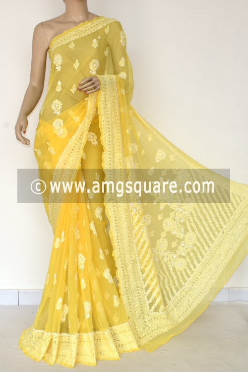 Golden Yellow Hand Embroidered Lucknowi Chikankari Saree (With Blouse - Georgette) Rich Pallu 14647