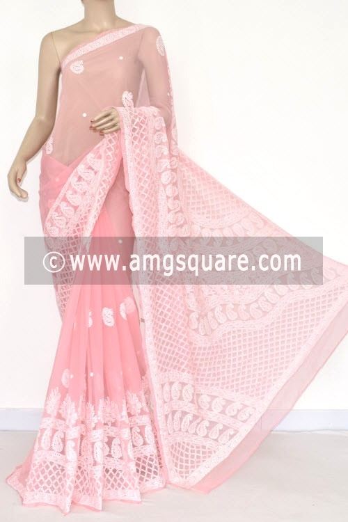 Peach Designer Hand Embroidered Lucknowi Chikankari Saree (With Blouse - Georgette) 14483