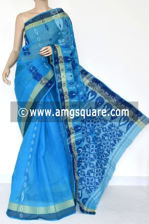 Pherozi Blue Handwoven Bengal Tant Cotton Saree (Without Blouse) 14088