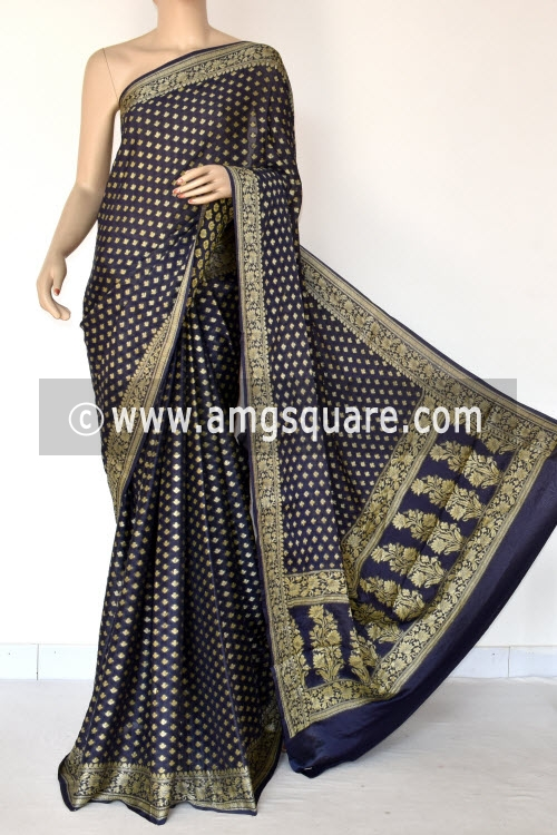 Navy Blue Banarasi Handloom Khaddi Georgette Saree (With Blouse) Allover Resham Weaving 16165