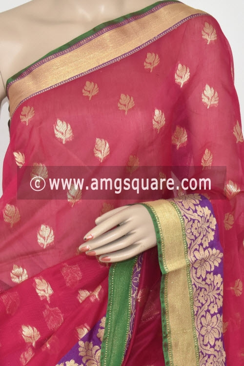 Red Green Handloom Chanderi Cotton Saree (with Blouse) Allover Resham Weaving 16209