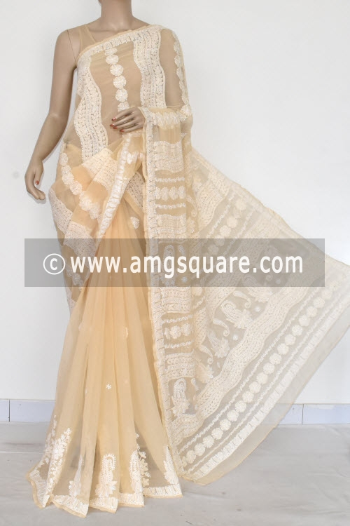 Fawn Designer Hand Embroidered Lucknowi Chikankari Saree (With Blouse - Georgette) 14603