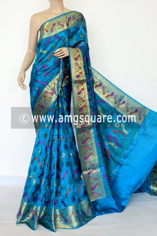 Pherozi Blue Handloom Katan Pure Silk Saree (With Blouse) Allover Resham Weaving Zari Border 16269
