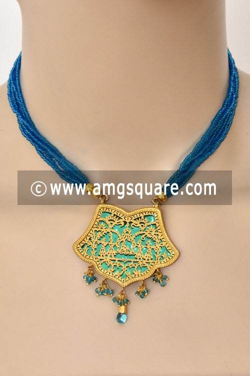 Pherozi Blue Traditional Thewa Pendant Set 11231