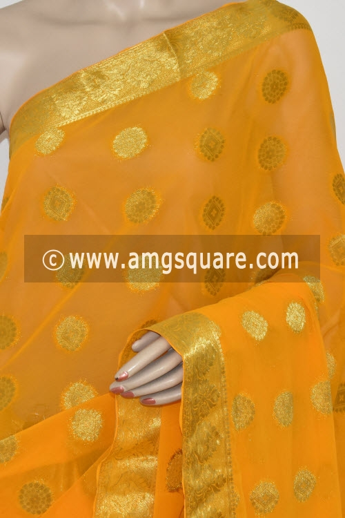 Golden Yellow Handloom Semi-Chiffon Saree (with Blouse) Allover Zari Border and Booti 16192