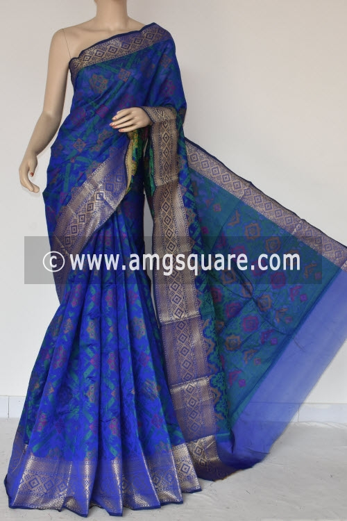 Royal Blue Handloom Banarasi Kora Saree (with Blouse) Allover Resham Weaving 16240