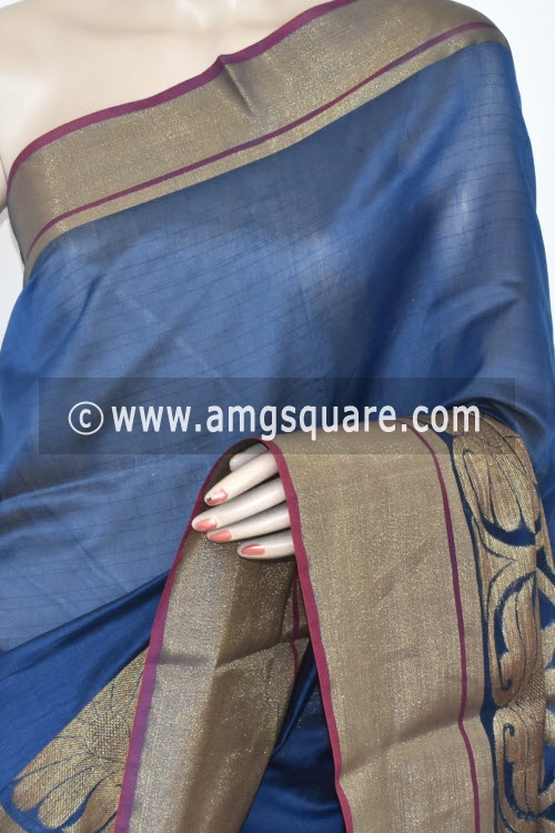 Blue Banarasi Kora Cot-Silk Handloom Saree (With Blouse) Zari Border 16142