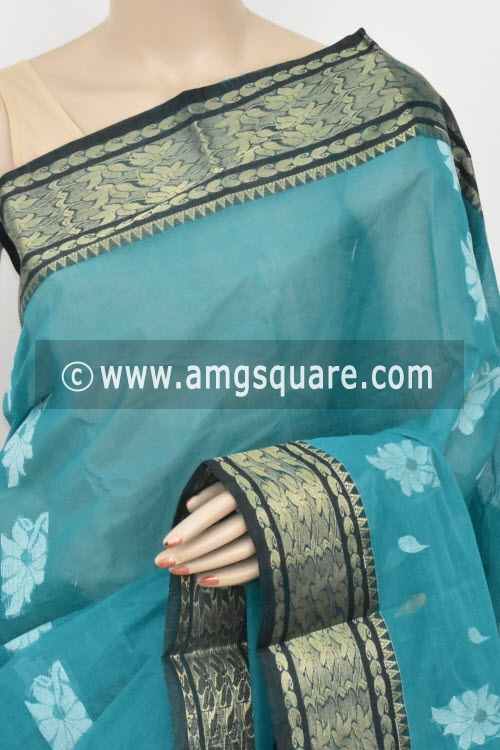 Sea Green Handwoven Bengal Tant Cotton Saree (Without Blouse) Zari Border 17420