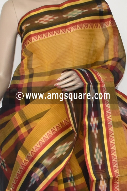 Golden Yellow Black Pochampalli Handwoven Dhaniakhali Bengal Tant Cotton Saree (Without Blouse) 13940