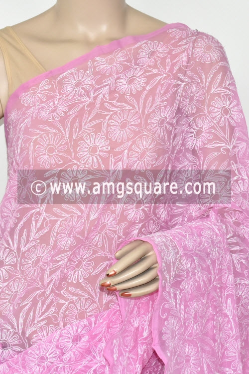 Onion Hand Embroidered Allover Tepchi Work Lucknowi Chikankari Saree (Georgette) 14881