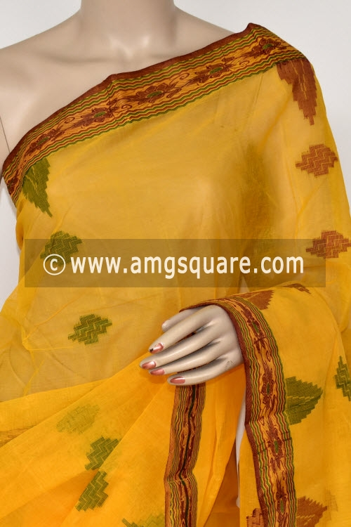 Golden Yellow Handwoven Bengal Tant Cotton Saree (Without Blouse) 17409