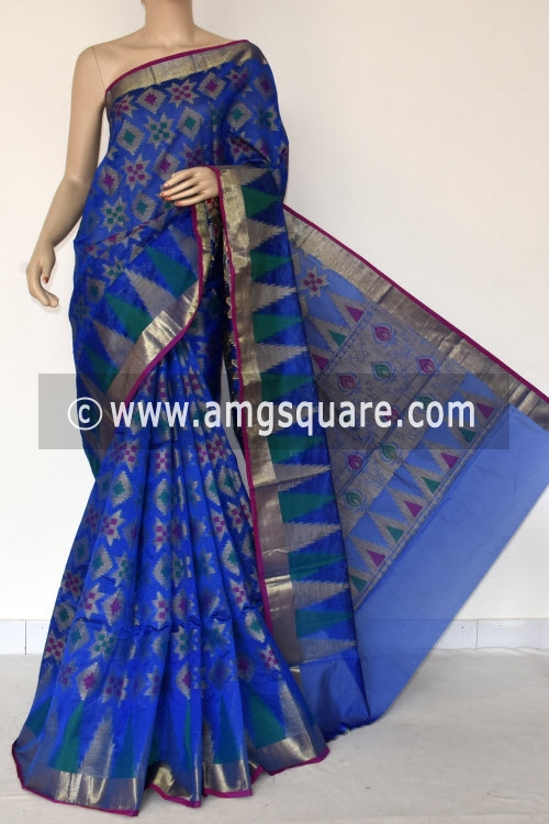 Royal Blue Handloom Banarasi Kora Saree (with Blouse) Allover Resham Weaving 16249
