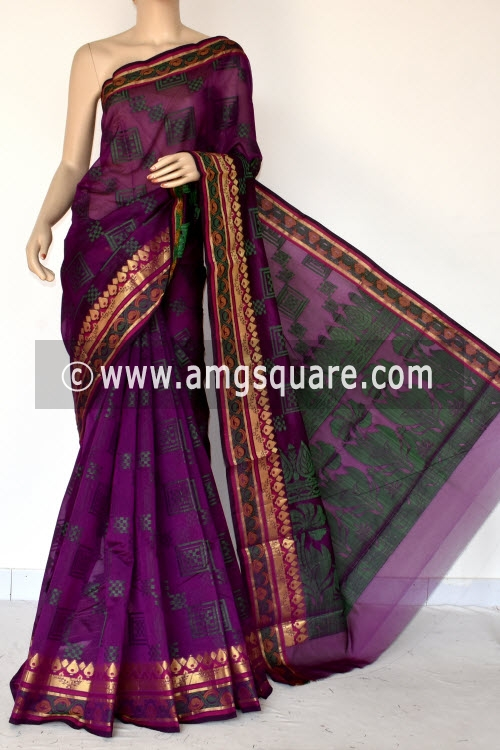 Magenta Handloom Banarasi Semi Cotton Saree (with Blouse) Zari Border Resham Weaving 16228