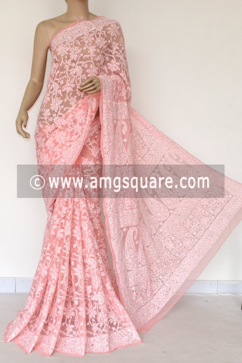 Peach Allover Hand Embroidered Lucknowi Chikankari Saree (With Blouse - Georgette) 14842