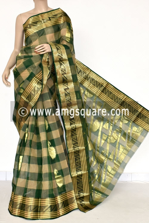 Bottle Green Fawn Handwoven Bengal Tant Cotton Saree (Without Blouse) Zari Border & Booti 17400