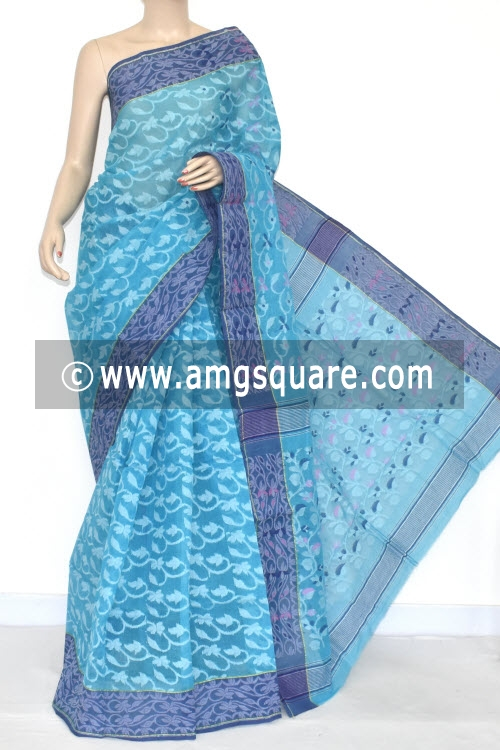 Pherozi Blue Jamdani Handwoven Bengal Tant Cotton Saree (Without Blouse) 17347