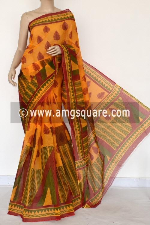 Red Yellow Green Premium JP Kota Doria Printed Cotton Saree (without Blouse) 15394