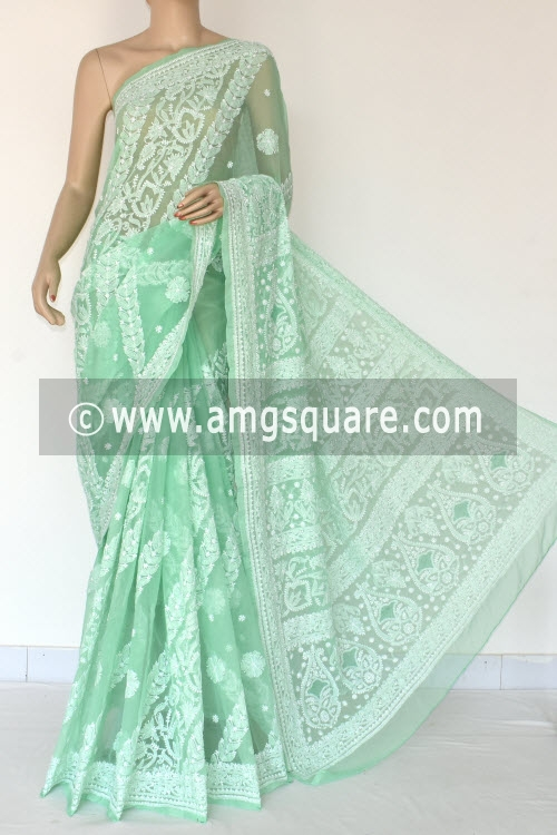 Pista Green Hand Embroidered Lucknowi Chikankari Saree (With Blouse - Georgette) 14492