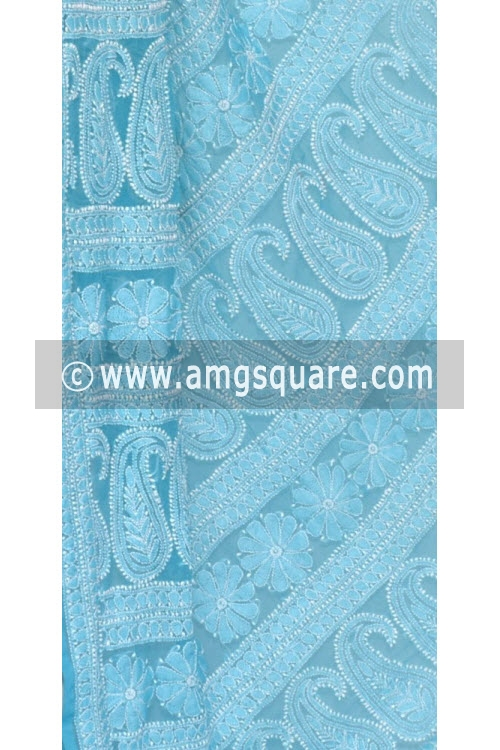 Pherozi Blue Allover Hand Embroidered Lucknowi Chikankari Saree (With Blouse - Georgette) 14594