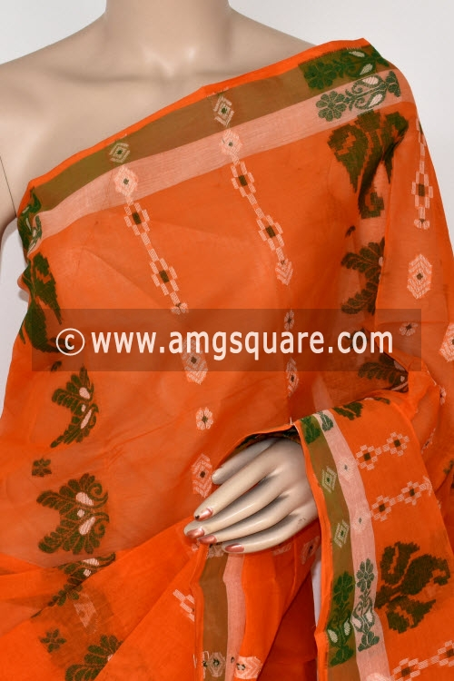 Orange Handwoven Bengal Tant Cotton Saree (Without Blouse) 14075