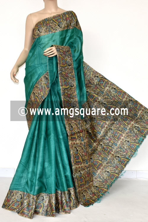 Sea Green Madhubani Border and Pallu Pure Silk Saree (With Blouse) 13798