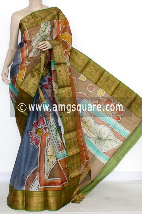 Blue Designer Handprinted Bishnupuri Pure Silk Saree (With Blouse) Baluchari Border 16152