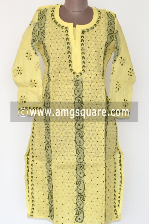 Light Yellow Hand Embroidered Lucknowi Chikankari Long Kurti (Cotton) Bust-42 inch 17880