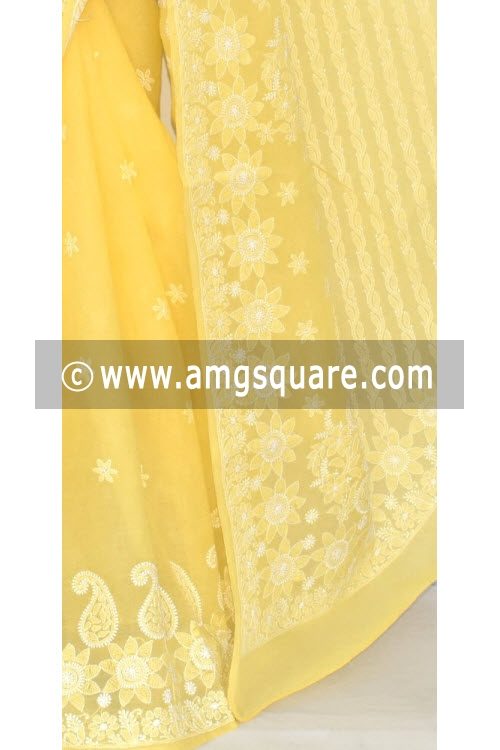 Golden Yellow Hand Embroidered Lucknowi Chikankari Saree (With Blouse - Cotton) 14552
