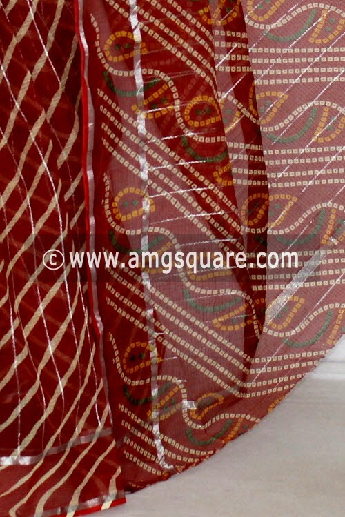 Maroon JP Kota Doria Chunri Printed Cotton Saree (without Blouse) Silver Zari Border 13614