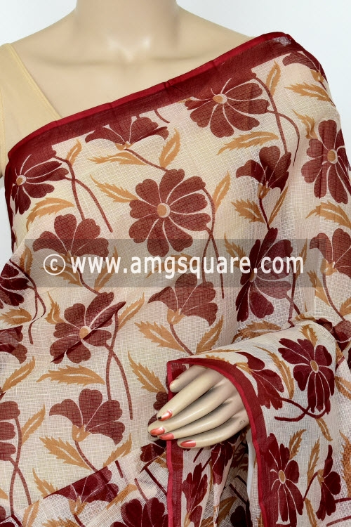 Dark Maroon Premium JP Kota Doria Printed Cotton Saree (without Blouse) 15427