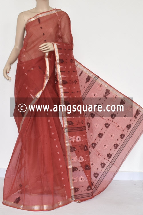 Rust Handwoven Bengal Tant Cotton Saree (Without Blouse) 17386