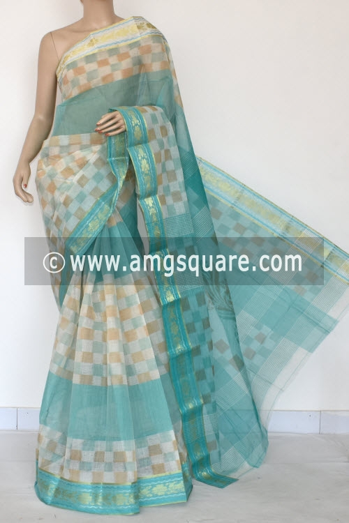 Sea Green Printed Handwoven Bengal Tant Cotton Saree (Without Blouse) 17148