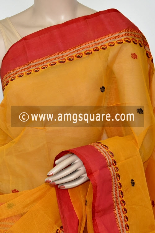 Golden Yellow Handwoven Bengal Tant Cotton Saree (With Blouse) Resham Weaving Garad Border 17241