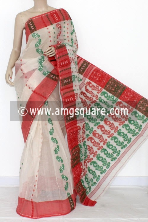 White Handwoven Bengal Tant Cotton Saree (Without Blouse) 14161