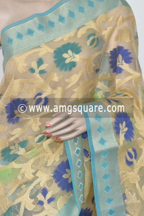 Sky Blue Banarasi Kora Cot-Silk Handloom Saree (With Blouse) Allover Zari weaving 16143