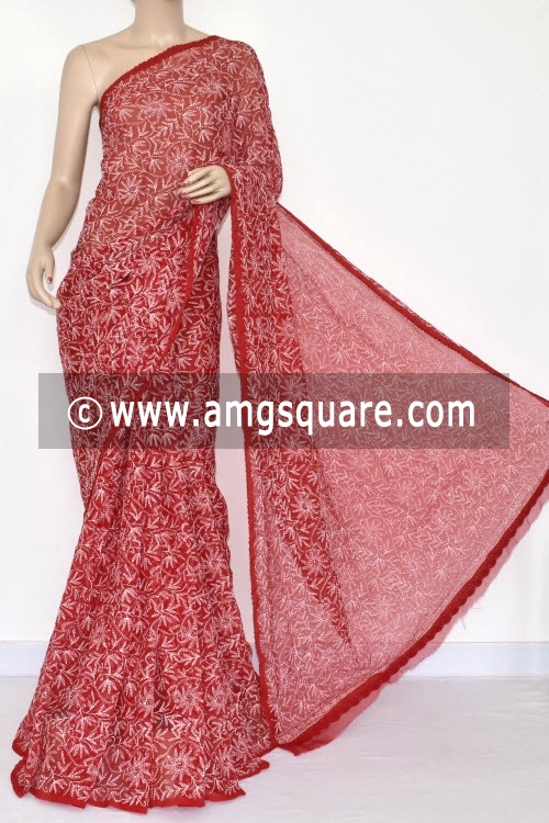 Red Hand Embroidered Lucknowi Chikankari Saree (With Blouse - Georgette) Allover Tepchi Work 14709