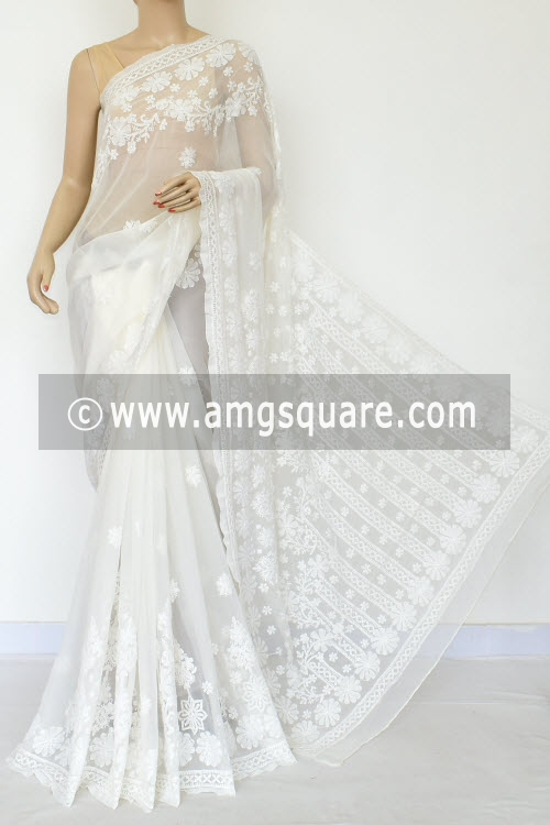 White Hand Embroidered Lucknowi Chikankari Saree (With Blouse - Georgette) 14650