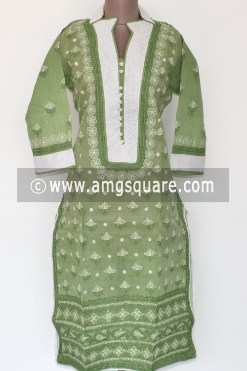 Pista Green Hand Embroidered Lucknowi Chikankari Long Kurti (Cotton) Bust-44 inch 17882