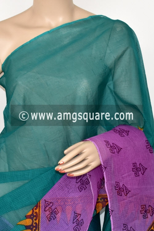 Sea Green Purple Premium JP Kota Doria Printed Cotton Saree (without Blouse) 15390