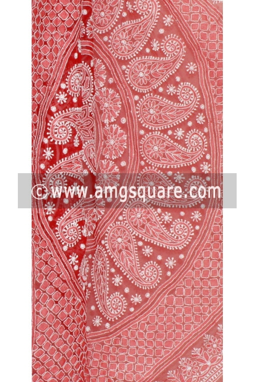 Red Allover Hand Embroidered Lucknowi Chikankari Saree (With Blouse - Georgette) 14467