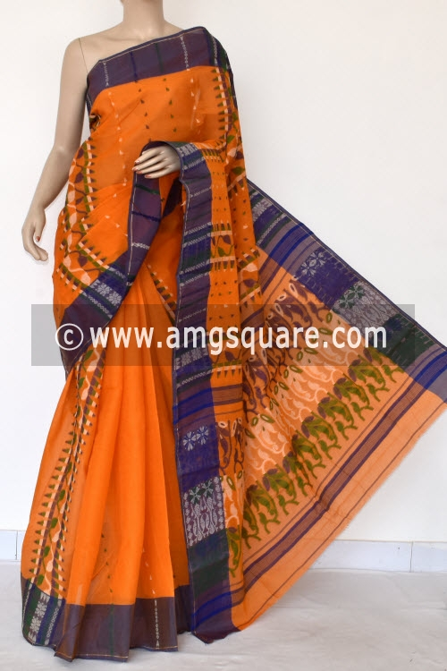 Orange Handwoven Bengal Tant Cotton Saree (Without Blouse) 13967