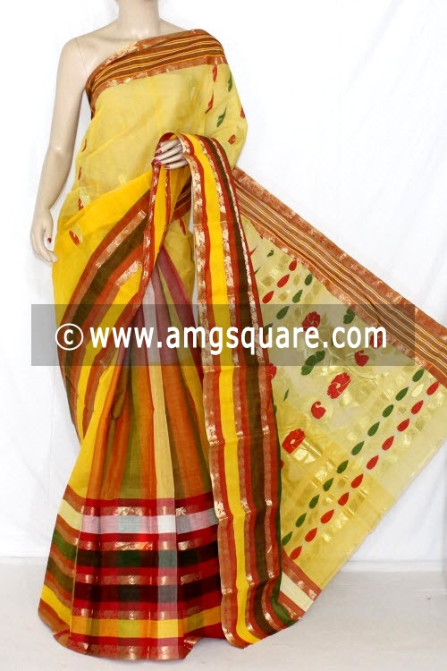 Yellow Handwoven Bengal Tant Cotton Saree (Without Blouse) Zari Border 14117