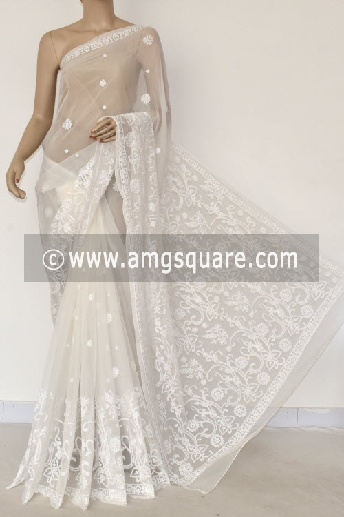 White Hand Embroidered Lucknowi Chikankari Saree (With Blouse - Georgette) 14449