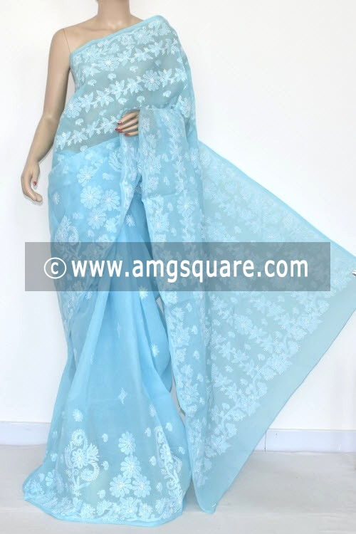 Sky Blue Hand Embroidered Lucknowi Chikankari Saree (With Blouse - Cotton) 14546