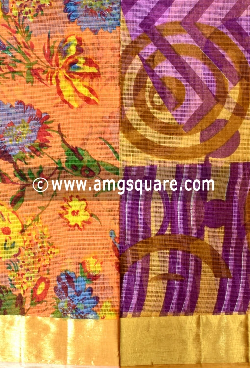Orange and Purple Allover Floral Printed JP Kota Sarees (Set of Two Sarees) 16001